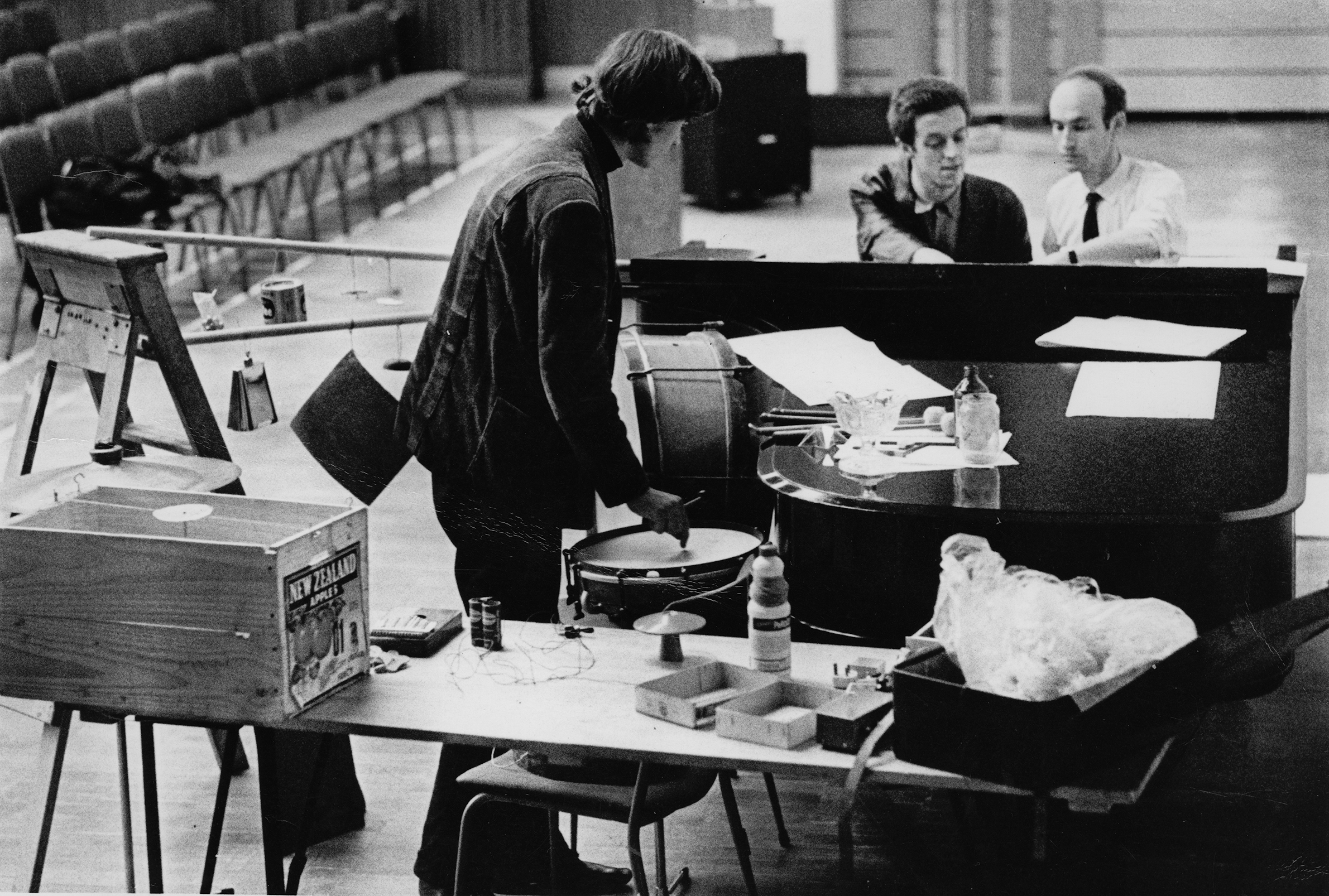 Christopher Hobbes, Cornelius Cardew, CW, London, International Students Center, 1968. Preparing for concert.